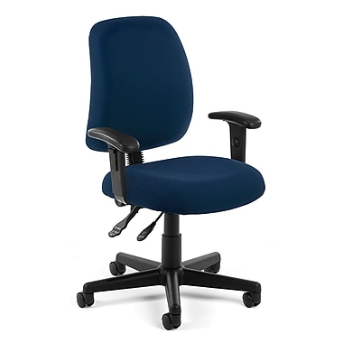 OFM Posture Fabric Computer and Desk Office Chair, Adjustable Arms, Navy (845123011171)