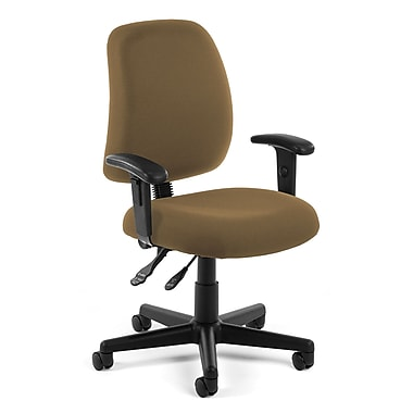 OFM Posture Fabric Computer and Desk Office Chair, Adjustable Arms, Taupe (845123011195)