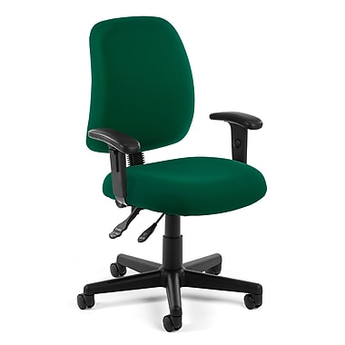 OFM Posture Fabric Computer and Desk Office Chair, Adjustable Arms, Green (845123011201)