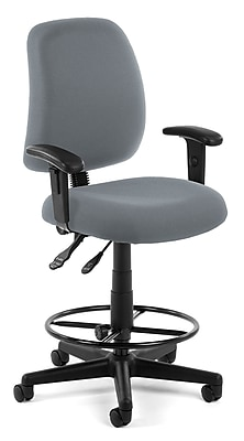 OFM Posture 118-2-AA-DK-801 Fabric Task Stool with Arms, Gray