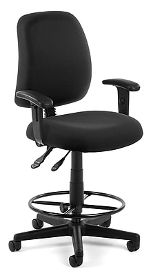 OFM Posture Fabric Task Stool with Arms, Black (118-2-AA-DK-805)