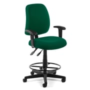 OFM Posture 118-2-AA-DK-807 Fabric Task Stool with Arms, Green