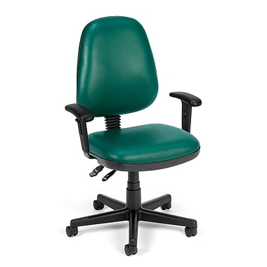 OFM Straton Plastic Computer and Desk Office Chair, Adjustable Arms, Teal (845123011409)