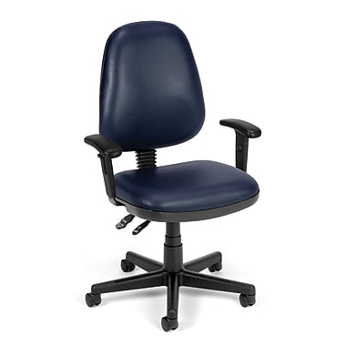 OFM Straton Plastic Computer and Desk Office Chair, Adjustable Arms, Navy (845123011430)