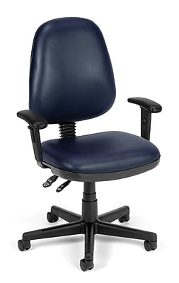 OFM Straton Plastic Computer and Desk Office Chair, Adjustable Arms, Navy (119-VAM-AA-605)