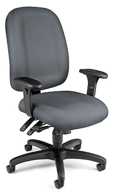 OFM Fabric Computer and Desk Office Chair, Adjustable Arms, Gray (811588012725)