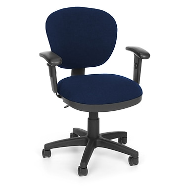 OFM Lite Use Fabric Computer and Desk Office Chair, Adjustable Arms, Blue (845123011799)