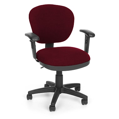 OFM Lite Use Fabric Computer and Desk Office Chair, Adjustable Arms, Burgundy (845123011812)
