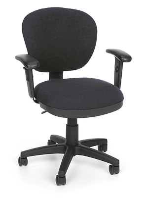 OFM Lite Use Fabric Computer and Desk Office Chair, Adjustable Arms, Gray (845123011836)