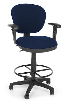 OFM Lite Use 150-AA-DK-119 Fabric Computer Task Stool with Arms, Blue