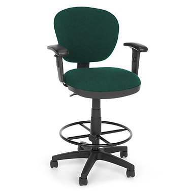 OFM Lite Use 150-AA-DK-120 Fabric Computer Task Stool with Arms, Teal (845123011850)