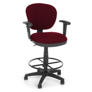 OFM Lite Use 150-AA-DK-122 Fabric Computer Task Stool with Arms, Burgundy