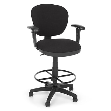 OFM Lite Use Fabric Computer Task Stool with Arms, Black (845123011874)