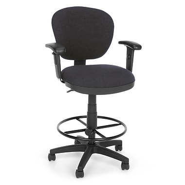 OFM Lite Use 150-AA-DK-128 Fabric Computer Task Stool with Arms, Gray (845123011881)