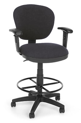 OFM Lite Use 150-AA-DK-128 Fabric Computer Task Stool with Arms, Gray