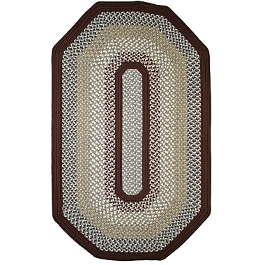Thorndike Mills Green Mountain Famers Market Maroon Area Rug; Elongated Octagon 8' x 10'
