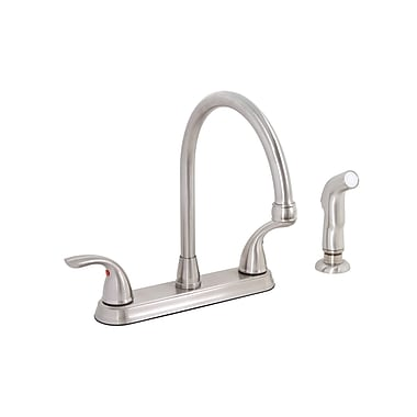 Premier Faucet Bayview Two Handle Centerset Kitchen Faucet w/ Matching Spray; Brushed Nickel (PVD)