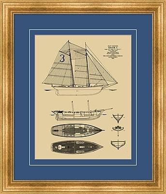 Ship Blue Print 1 Framed Art, 24