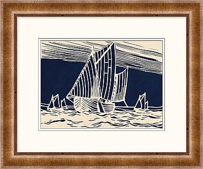 Woodblock Ship on Indigo 1 Framed Art, 24
