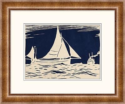 Woodblock Ship on Indigo 2 Framed Art, 24