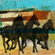 "Abstract Horses Art, 24"" x 24"""