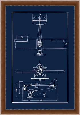 Sea Plane Blue Print 1 Framed Art, 28