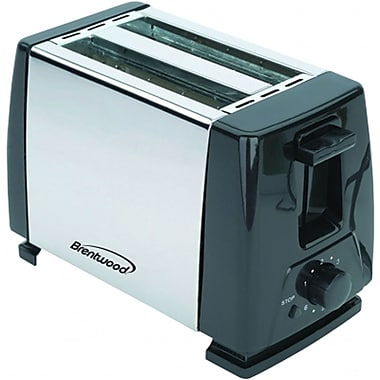 Brentwood® 2-Slice 750 W Toaster, Black/Stainless Steel