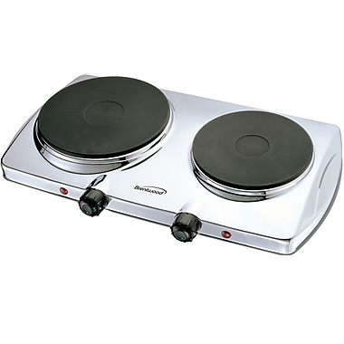 Brentwood® Electric 1440 W Double Hotplate, Chrome