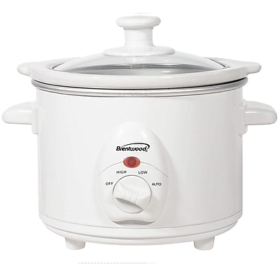 Brentwood® 1.5 qt. Metal Slow Cooker, White