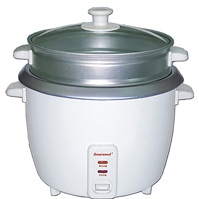 Brentwood® 4-Cup Metal Rice Cooker With Steamer, White