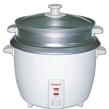 Brentwood® 8-Cup Metal Rice Cooker With Steamer, White