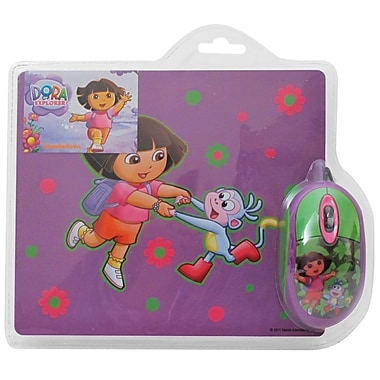 Dora The Explorer 2-Piece Optical Mouse and Mouse Pad Set, Purple