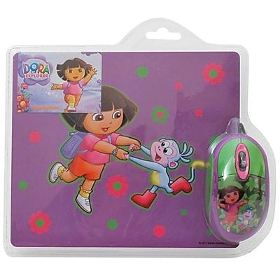 Dora The Explorer 2-Piece Optical Mouse and Mouse Pad Set; Purple