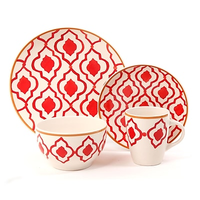 Gibson® 16-Piece Stoneware Medallion Trellis Dinnerware Set, Coral Red