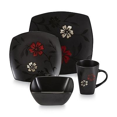 Gibson® Essential Home 16-Piece Ceramic Mystic Floral Square Dinnerware Set, Black/Red/White