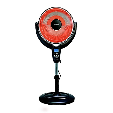 Optimus H-4501 Oscillitating Pedestal Digital Dish Heater With Remote, Black