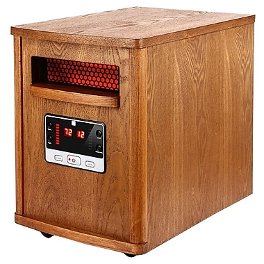 Optimus H-8121 Infrared Quartz Heater With Remote and LED Display, Brown