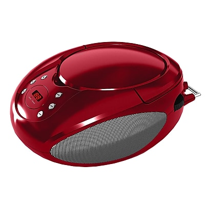Supersonic® SC-505-Portable CD Player With AM/FM Radio and AUX Input, Red
