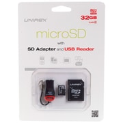 Unirex® 32GB MicroSD High Capacity Class 10 Memory Card With SD Adapter/USB Reader