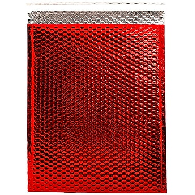 JAM Paper® Bubble Mailers with Peel and Seal Closure, 12 x 15 1/2, Red Metallic, 12/pack (2744441)