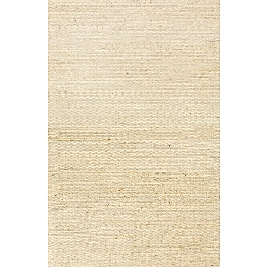 Jaipur Andes Beige Solid Area Rug Jute & Cotton, 2.6' x 4'