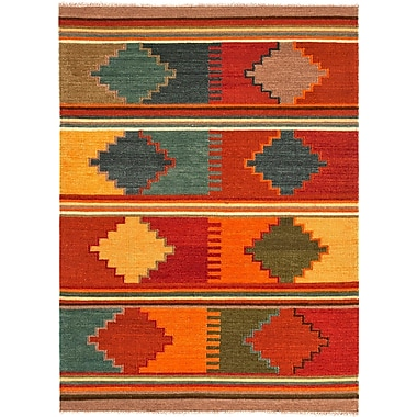 Jaipur Flat-Weave Tribal Pattern Rug Wool 8' x 10', Red Oxide