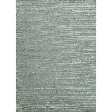 Jaipur Handloom Solid Pattern Area Rug Wool & Art Silk 2' x 3', Silver Sea Moss