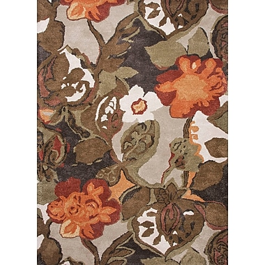 Jaipur Hand Tufted Floral Pattern Rug Wool & Art Silk 5' x 8', White Ice