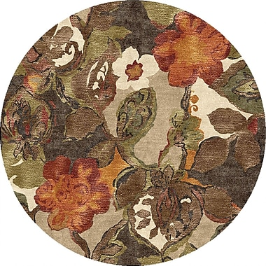 Jaipur Round Area Rug Wool & Art Silk 6' x 6'