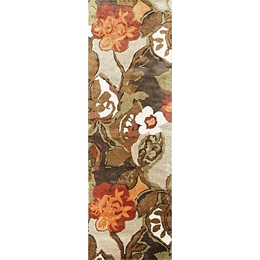Jaipur Floral Area Rug Wool 2.6' x 12', White Ice