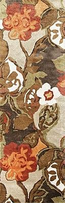 Jaipur Hand-Tufted Floral Pattern Runner Wool & Art Silk, 2.6' x 8' White Ice