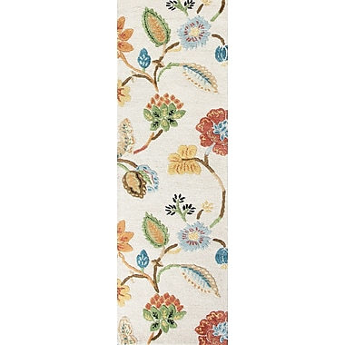 Jaipur Floral Area Rug Wool & Art Silk, 2.6' x 8'