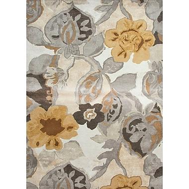 Jaipur Floral Rug 70% Wool 30% Art Silk 2' x 3', White & Nickel