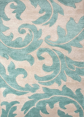 Jaipur Rug 70% Wool 30% Art Silk 3.6' x 5.6', Antique White & Light Turquoise